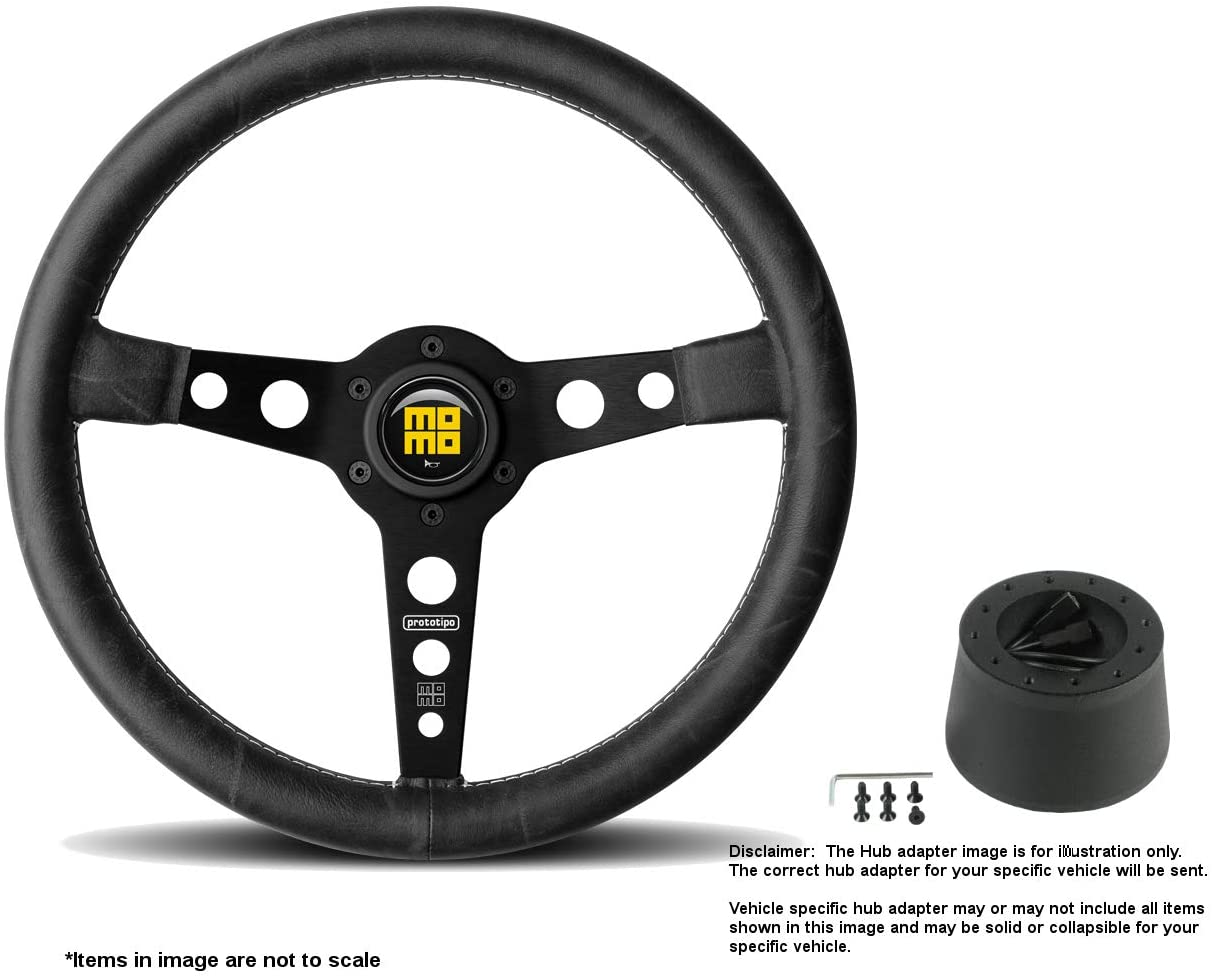 MOMO Heritage Prototipo Black 350mm (13.78 Inches) Leather Steering Wheel w/Brushed Black Anodized Spokes and Hub Adapter for BMW E46 w/Airbag Part # PRH35BK2B + 2012
