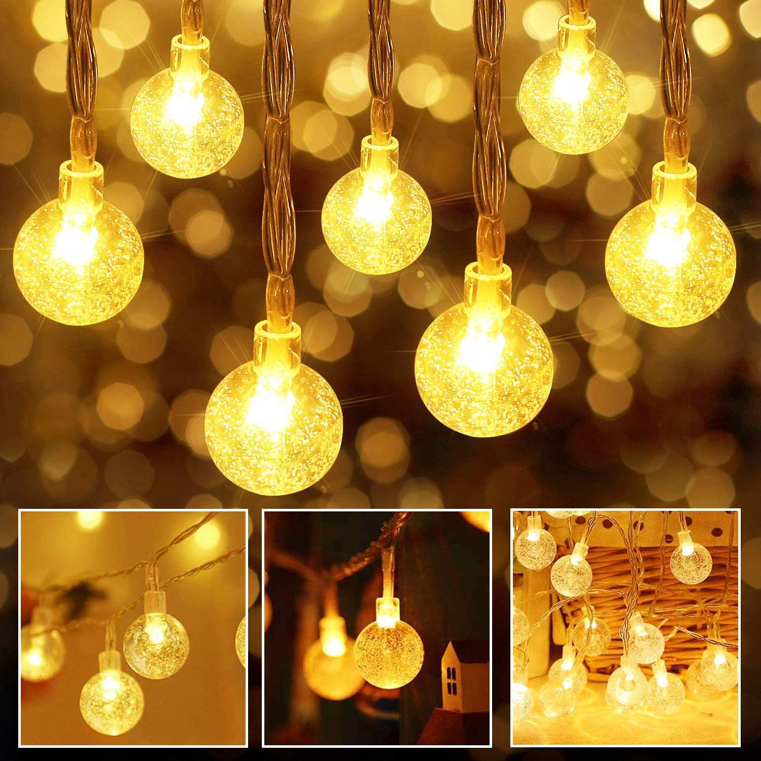 Aluan Battery Operated String Lights 60LED 30ft USB Powered Crystal Globe Christmas Lights 8 Modes Fairy Lights for Home, Bedroom, Wall, Wedding, Party, Indoor,Outdoor,Warm White