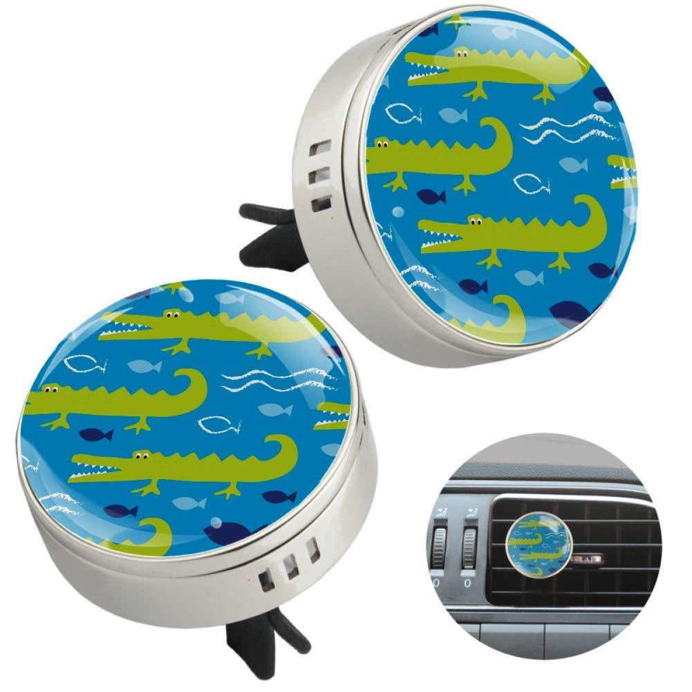 Blue Ocean Crocodile Essential Oil Car Diffuser Aromatherapy Vent Clip Car Air Freshener 2 PCS