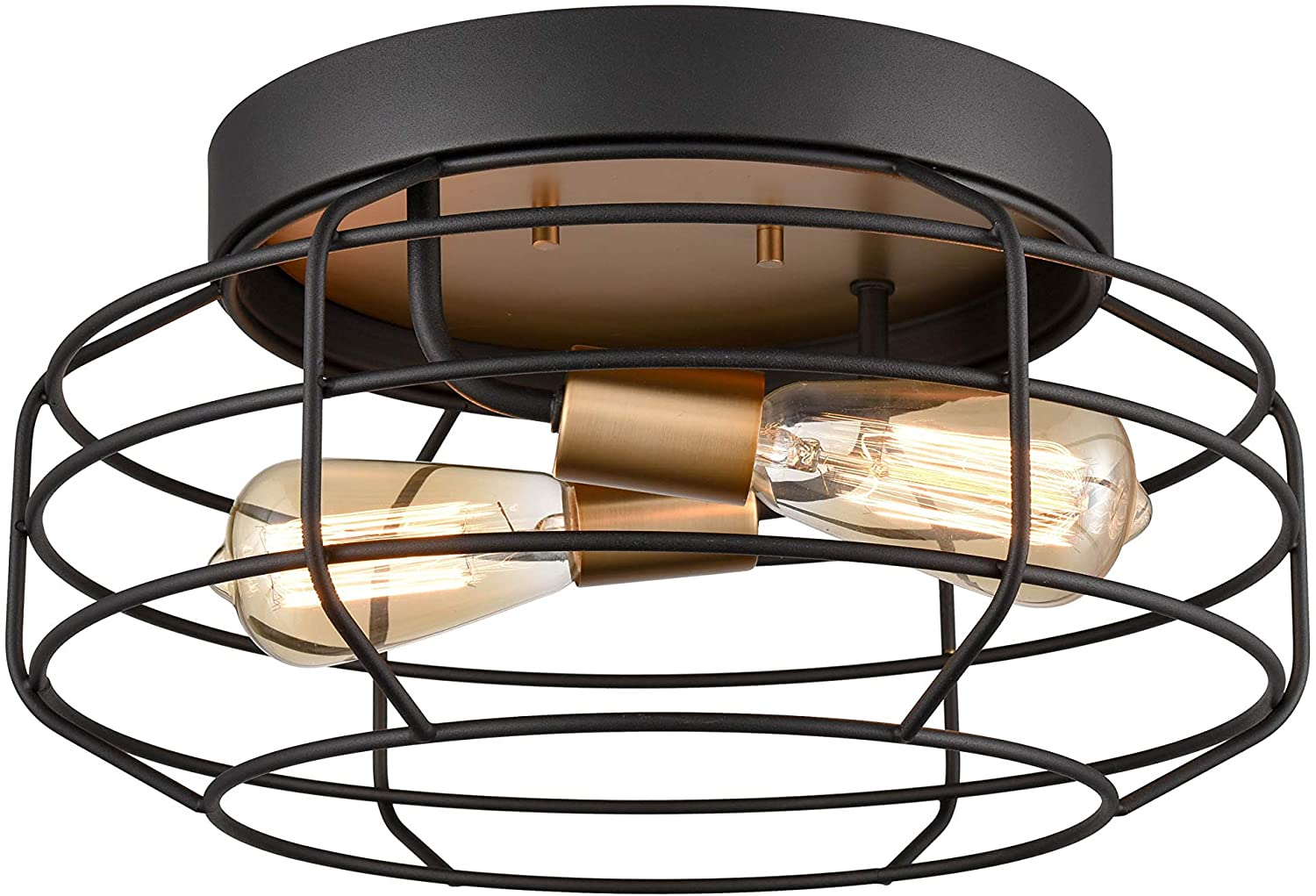 HUANXIN LIGHTING 2-Light Flush Mount Ceiling Light, Black and Gold, Irony Wire Shade
