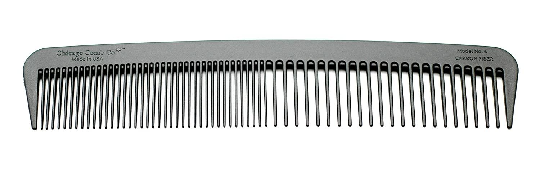Chicago Comb Model 6 Carbon Fiber, 17.8 cm long, graphite black, anti-static