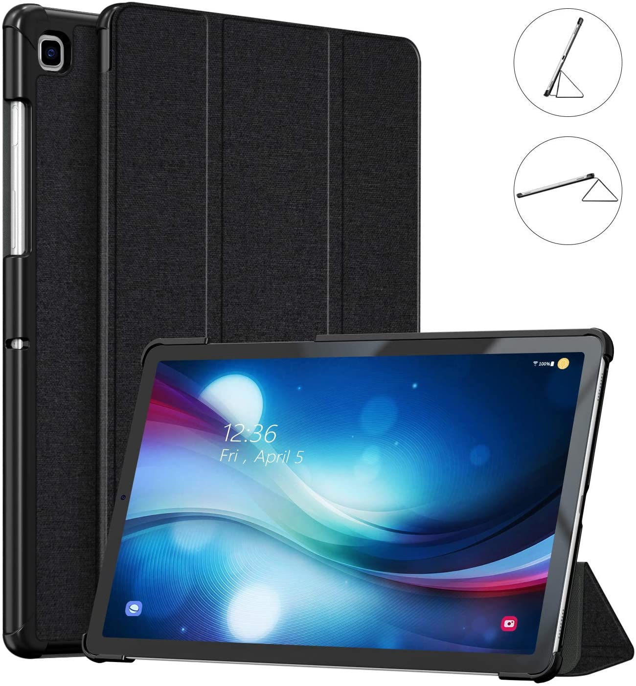 VECO Samsung Galaxy Tab S5e Case 2019 SM-T720/T725 - Ultra Slim Tri-Fold Stand Shockproof Case with Auto Sleep/Wake Feature Designed for Samsung Galaxy Tab S5e 10.5 Inch(Black)