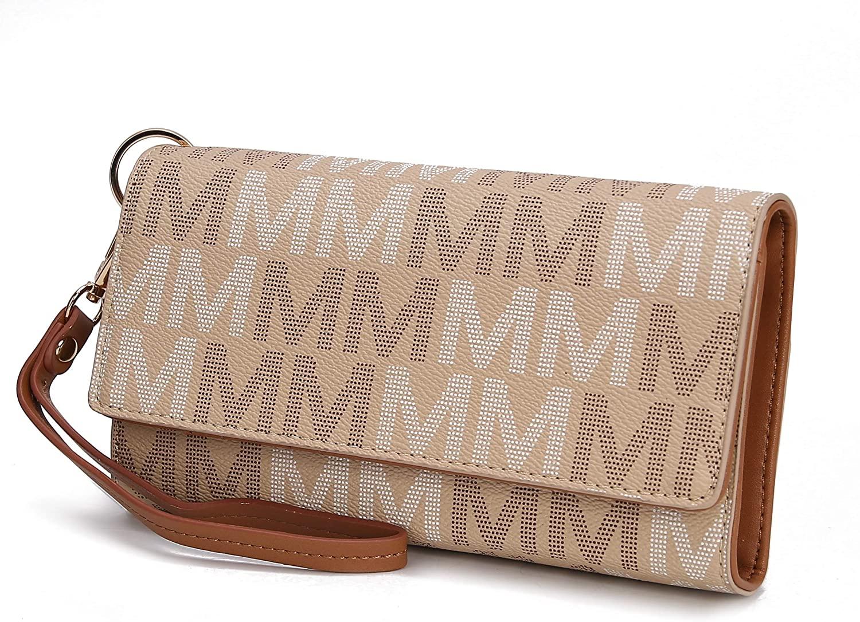 Mia K. Collection Cellphone Handbag for Women Wallet Wristlet, Multi Pocket Clutch Purse PU Leather Signature Bag