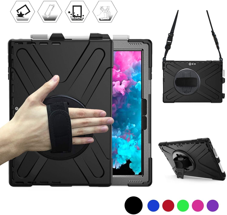 BRAECN New Surface Pro 7 Case,Pro6 Case,Pro5 Case,Pro4 case,Pro LTE case,Shockproof Protective Case with Rotating Hand Grip/Kickstand,Pen holder&Shoulder Strap,Type Cover Keyboard Not Compatible-BLACK