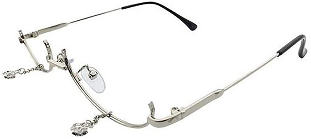 Ximandi Female Glasses Lower Half Frame Flat Mirror Water Drop Decorative Glasses Frame 2019 Fashion