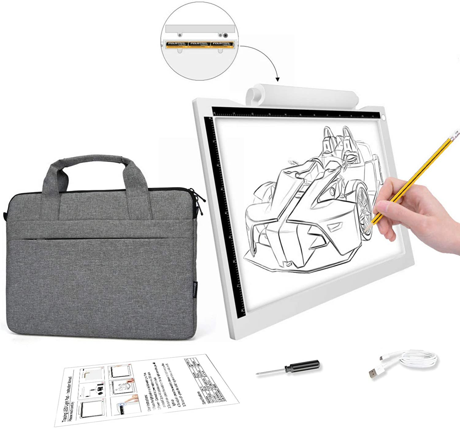 A4 Light Box for Tracing Portable Battery Power Cable 5600 Lux Dimmable Brightness LED Artcraft Tracing Light Pad for Artists Drawing Animation Stencilling X-rayViewing (Light Box with Bag)