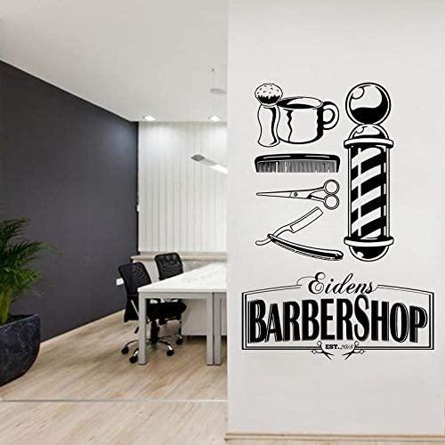 BYRON HOYLE Barber Wall Decal Personalised Barber Shop Man Salon Haircut Beard Face Tools Logo Salon Sticker 394RE
