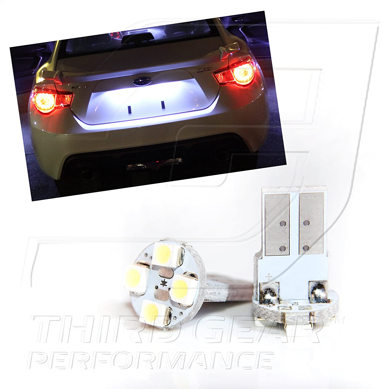 TGP T10 White 4 LED SMD License Plate Wedge Light Bulbs Pair 2007-2014 Compatible with Toyota FJ Cruiser