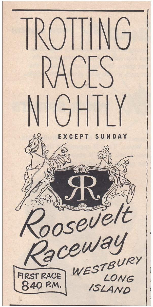 RelicPaper 1950 Roosevelt Raceway: Trotting Races Nightly, Roosevelt Raceway Print Ad