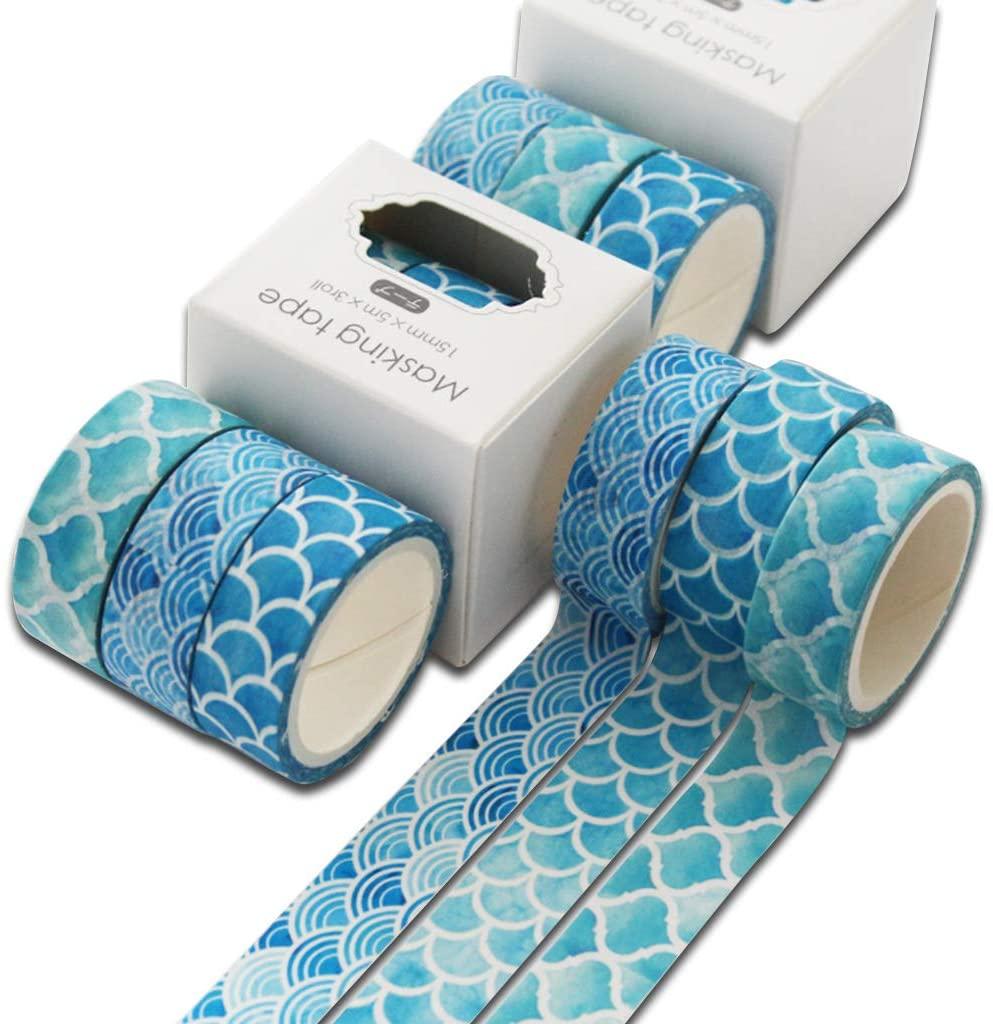 minansostey 3Pcs Ocean Washi Tape Set Cute Adhesive Tape DIY Decoration Sticker Scrapbooking Diary Masking Tape