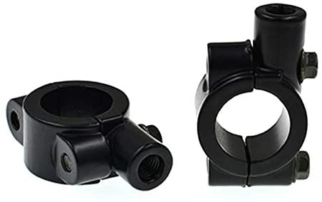 AKDSteel 8MM 10MM Universal Aluminum Motorcycle Handlebar Mirror Adaptor Holder Mount Brackets Clamp 10MM+ Black