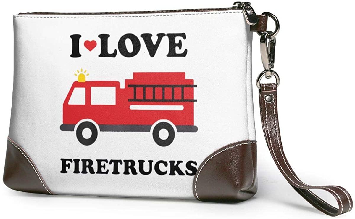 I Heart Love Fire Truck Leather Clutch Fashion Handbag Phone Wristlet Purse