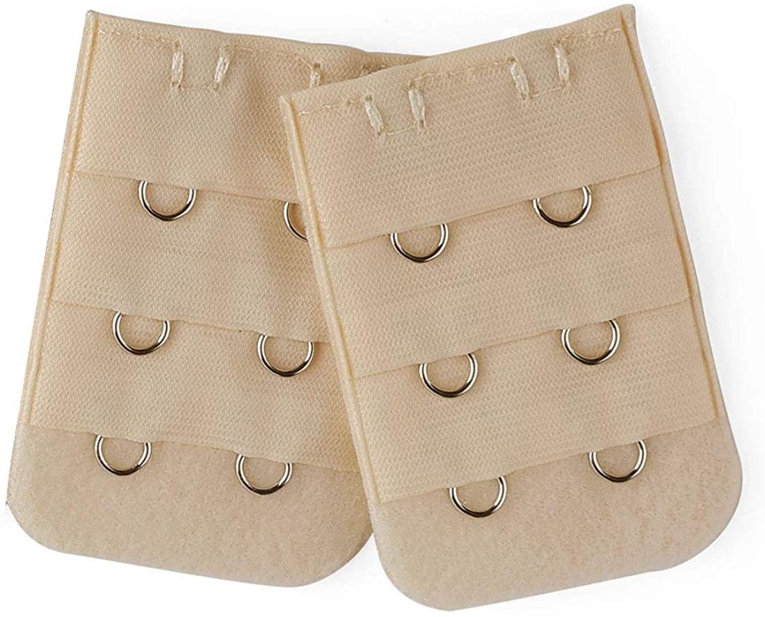 Allegra K 2 Pcs Ladies 2 Hooks 3 Rows Peach Pink Bra Strap Extension Underwear Buckle Hook