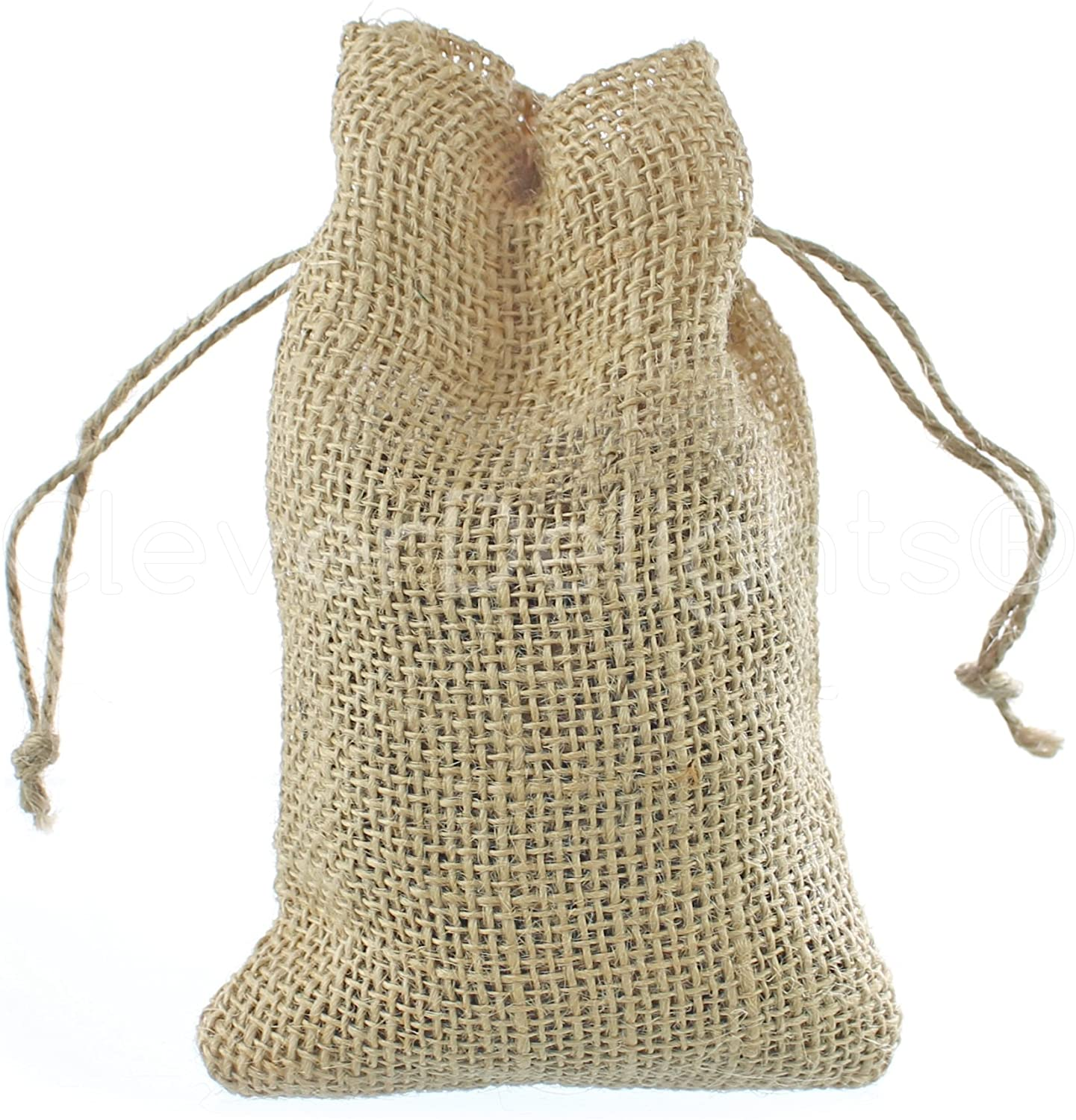 CleverDelights 4 x 6 Burlap Bags with Natural Jute Drawstring - 25 Pack - Small Burlap Pouch Sack Favor Bag for Showers Weddings Parties and Receptions - 4x6 inch