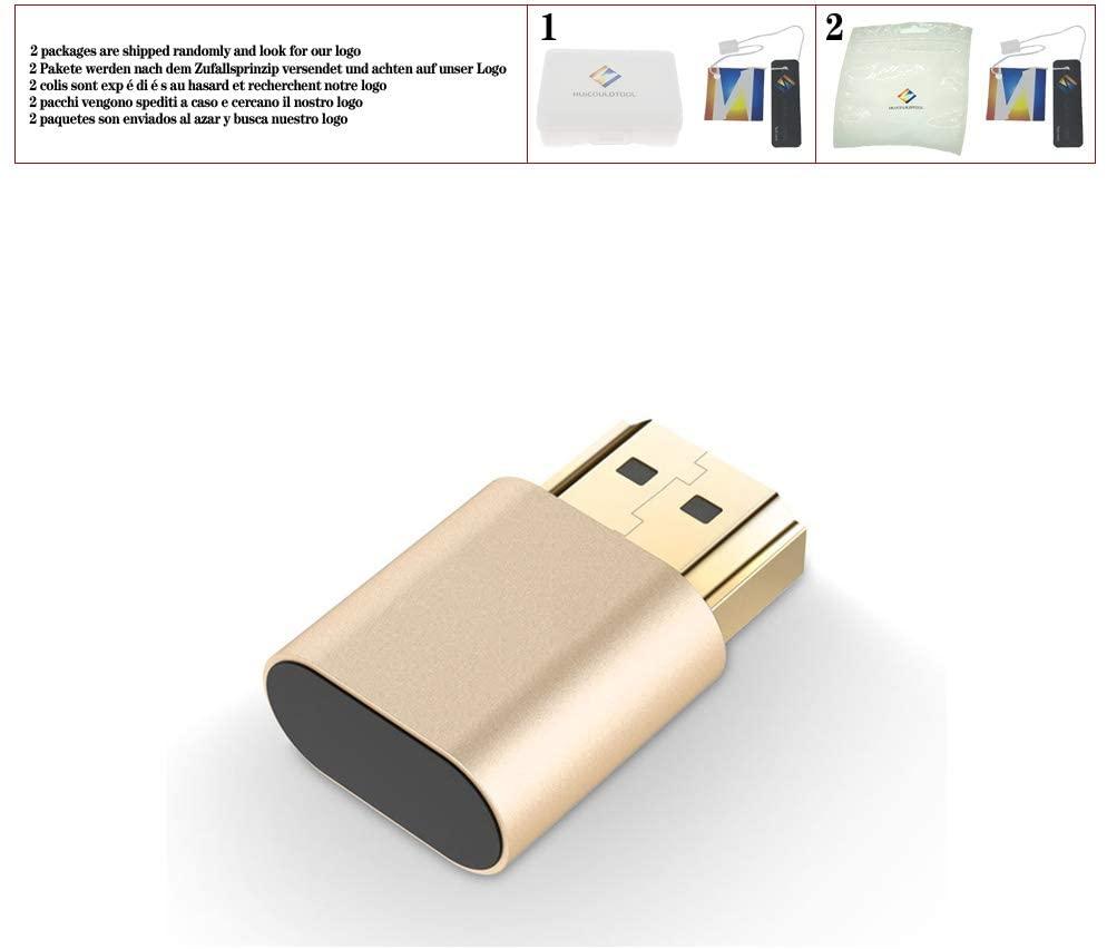 HDMI Virtual Display Adapter Gold Plating HDMI DDC EDID Dummy Plug Headless Ghost Display Emulator Lock Plate Up to 4K 3840×2160,Gold