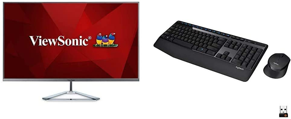 ViewSonic VX3276-MHD 32 Inch 1080p Frameless Widescreen IPS Monitor & Logitech MK345 Wireless Combo Full-Sized Keyboard with Palm Rest and Comfortable Right-Handed Mouse - Black