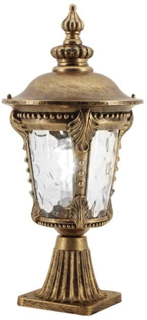 IBalody Column Lamp European IP54 Waterproof Vintage Glass Lantern Vintage Outdoor Die-cast Aluminum Anti Rust Post Light Courtyard Landscape Door Decorative Pillar Light (Color : Brass)