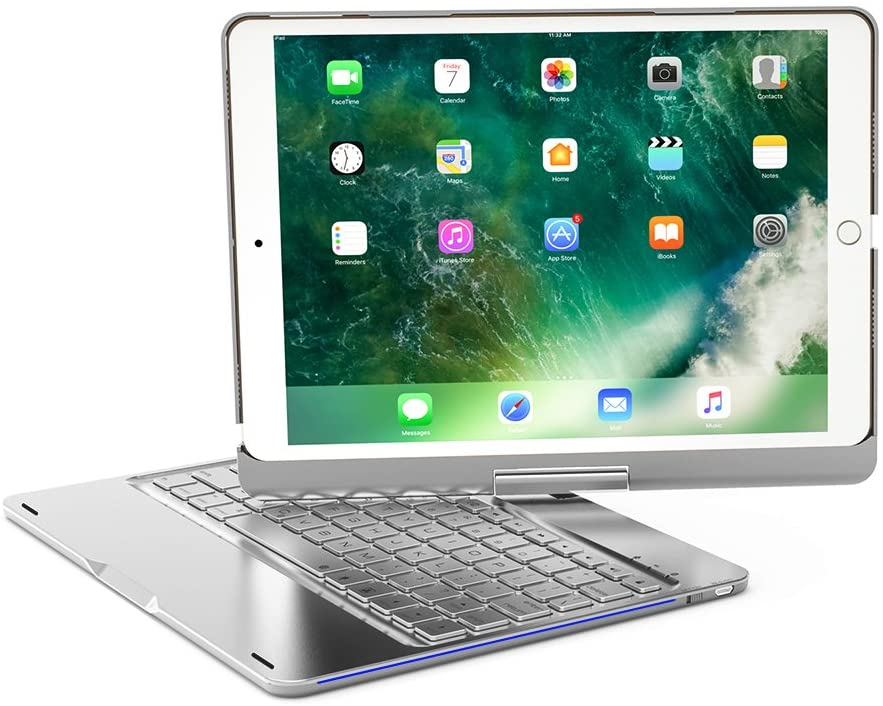 XFUNY iPad Pro 10.5 Keyboard Case Wireless Bluetooth Keyboard Full Protective Case With 360 ° Rotating & 7 Color Backlight Slim Keyboard For iPad Pro 10.5 (Silver)