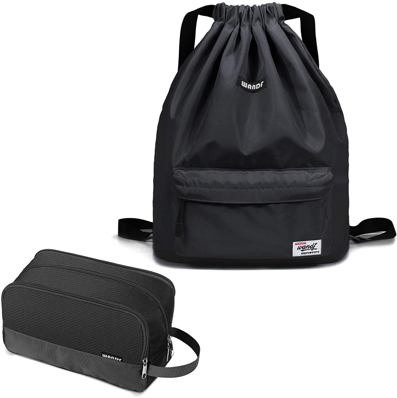 WANDF Drawstring bag Bundle with Toiletry Bag| WANDF Drawstring Backpack String Bag & Shoes Compartment & Toiletry Shaving Bag Lightweight Dopp Kit for Men Women