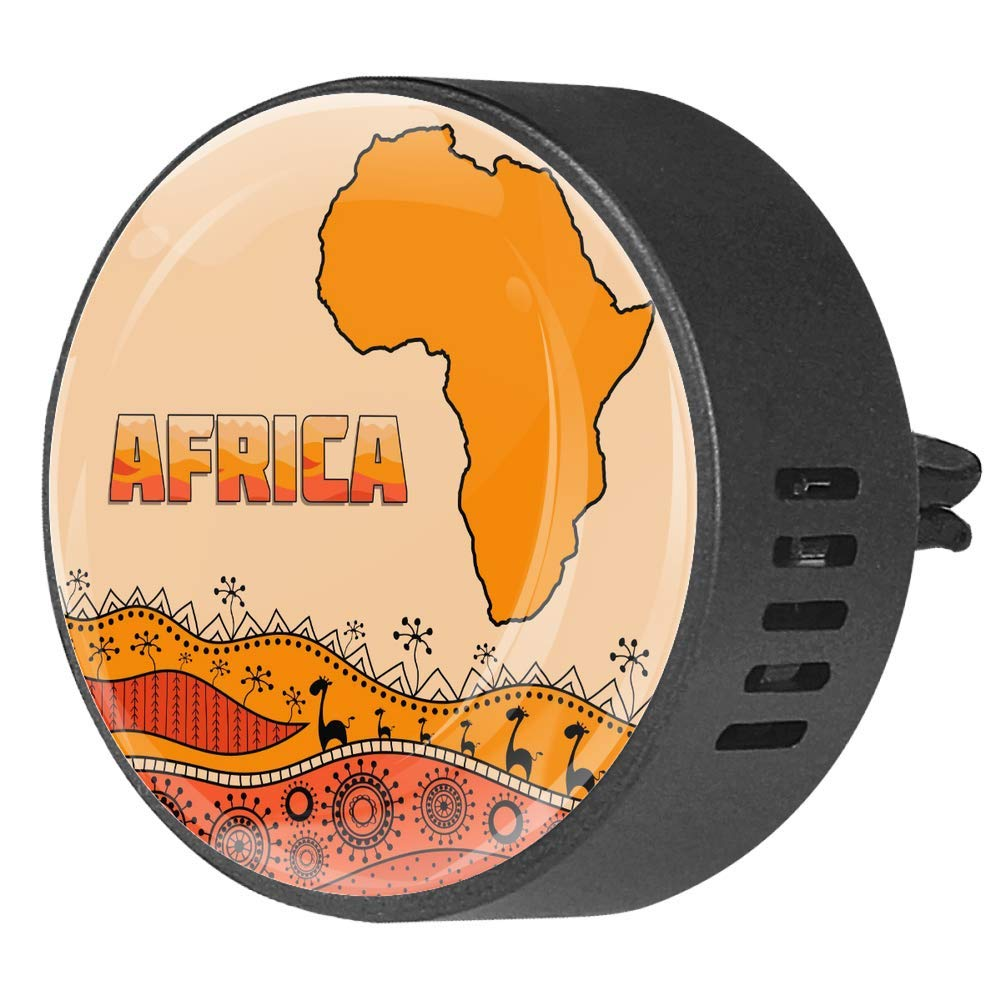 African Map With Tribal Pattern Car Diffuser Vent Clip Healthy Certification EVA Car Air Freshener 2 Pack, Frangipani