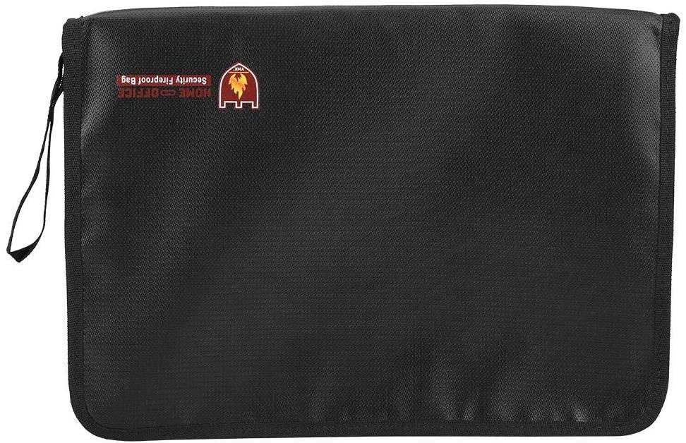 Fireproof Money Bag Water Resistant Document Briefcase, Fiberglass Cash Envelope Holder Safe Storage with 12 Organ Pages