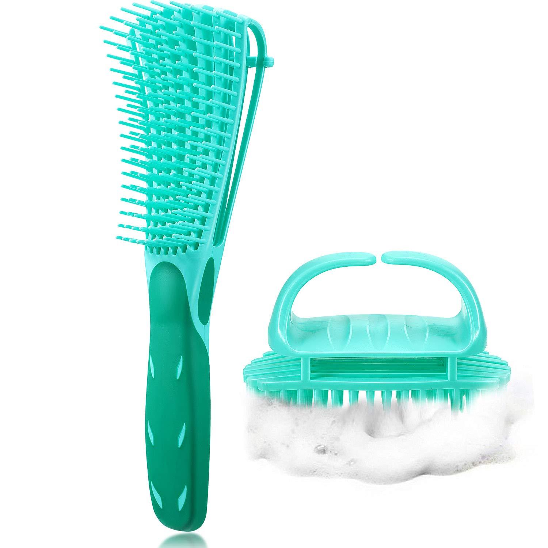 2 Piece Detangling Brush Set Includes 1 Detangler Brush, 1 Hair Scalp Massager Shampoo Brush Hair Detangler for Hair Textured 3a to 4c Kinky Wavy/Curly/Coily/Wet/Dry/Oil/Thick/Long Hair (Green)