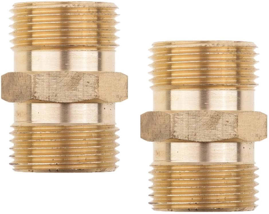 Milageto 2 Pieces of Washer Brass Hose Quick Coupling M22x 1.5mm 15mm Coupling Socket