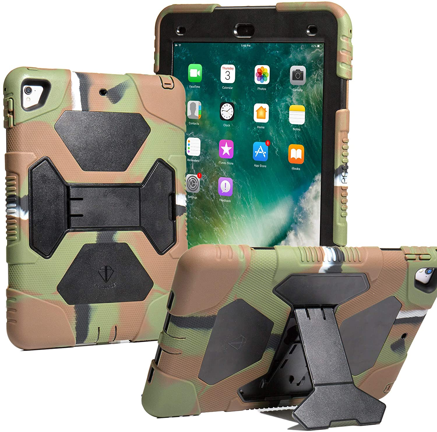 ACEGUARDERS iPad 9.7 2017/2018 & iPad Air 2 & iPad Pro 9.7(2016) Case - Shockproof Impact Resistant Protective Case Cover Full Body Rugged for Kids with Kickstand (iPad 9.7 case, Army/Black)