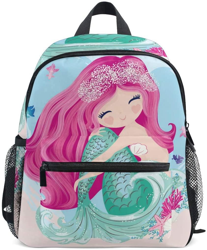 Aflyko Mermaid Kids Backpack for Daycare Bookbag for Kindergarten Daypack for Toddler Girls and Boys 10 x 4 x 12 Inch