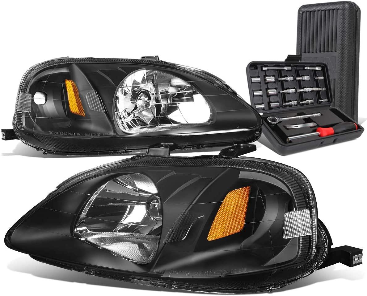 Black Housing Amber Corner Headlight Head Lamps+Tool Kit Replacement for Honda Civic 99-00