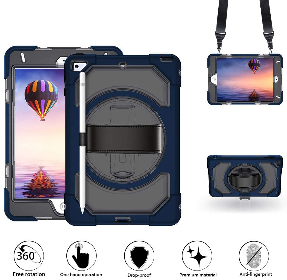 GROLEOA iPad Mini 5 Case with Pencil Holder, iPad Mini 5th Generation 7.9inch Anti-Drop Rugged Protective Tablet Case 360 Rotation Stand+Hand Strap+Shoulder Strap for iPad Mini 5 2019/ Mini 4 2015