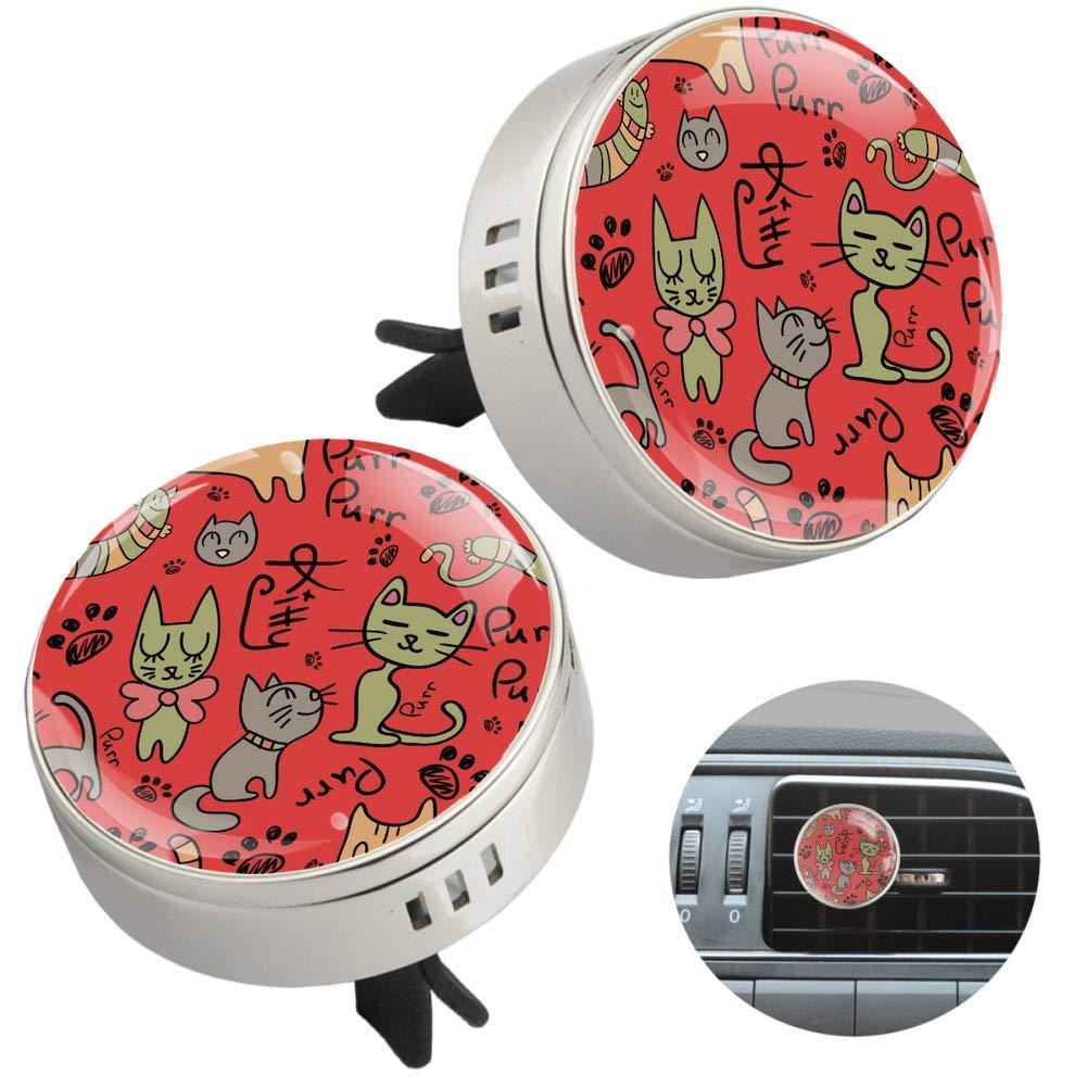 Cat Patterns Essential Oil Car Diffuser Aromatherapy Vent Clip Car Air Freshener 2 PCS