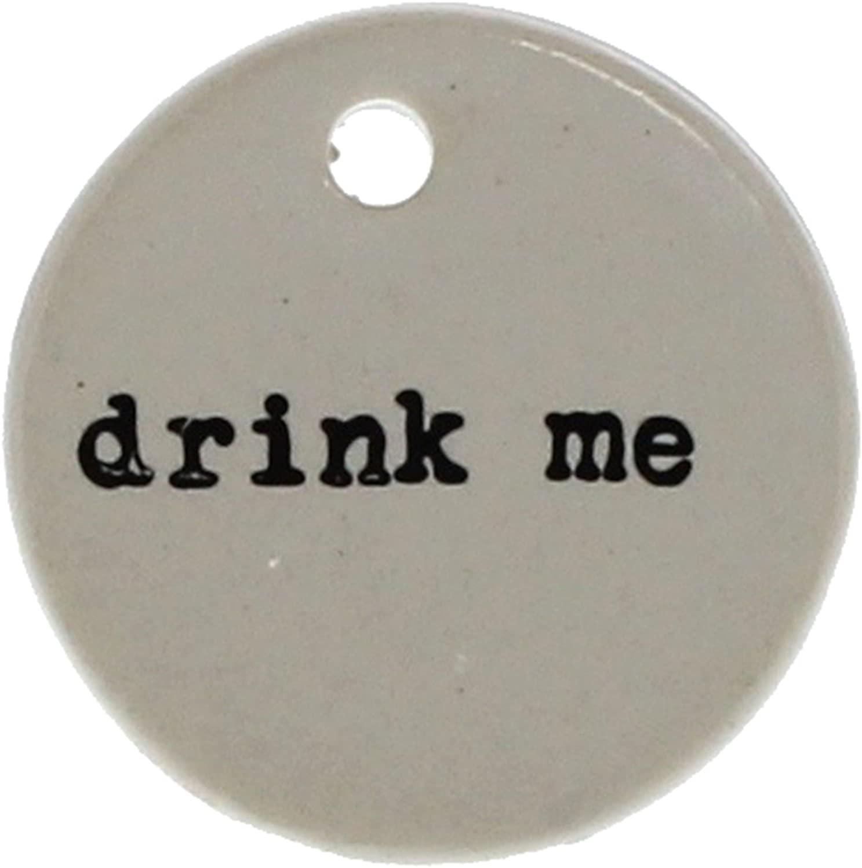 Drink Me Wine Bottle Tag Label Set 6 | Round Gift Hanger Bar Ceramic
