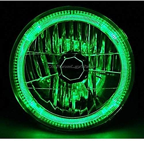 OCTANE LIGHTING 7 H6024 / 6014 Halogen Green Led Halo Ring H4 Light Bulb Angel Eye Headlight