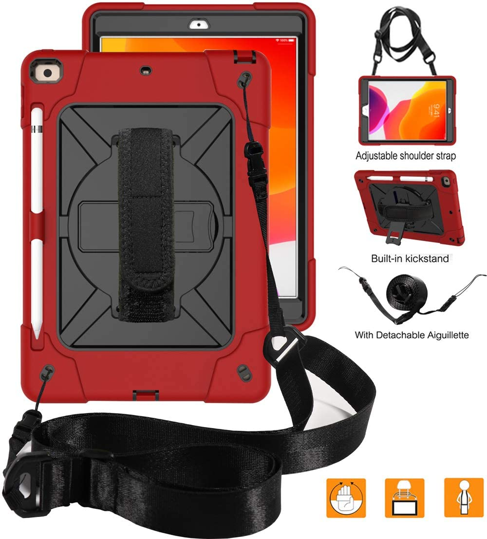 New iPad 10.2 2019 Case,UZER Heavy Duty Shockproof Anti-slip Kickstand Silicone Rugged Three Layer Armor Protective Case with Pencil Holder&Shoulder Strap for iPad 10.2 inch 7th Generation(2019 Model)