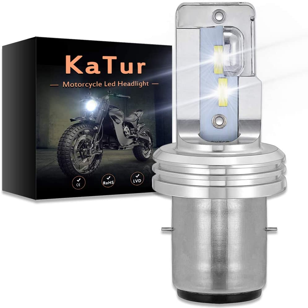 KATUR Motorcycle BA20D H6 Hi/Lo Beam LED Headlight Bulbs Super Bright Upgraded CSP Chips All in One Conversion Kit 1750 LM 18W 6500K(Xenon White)