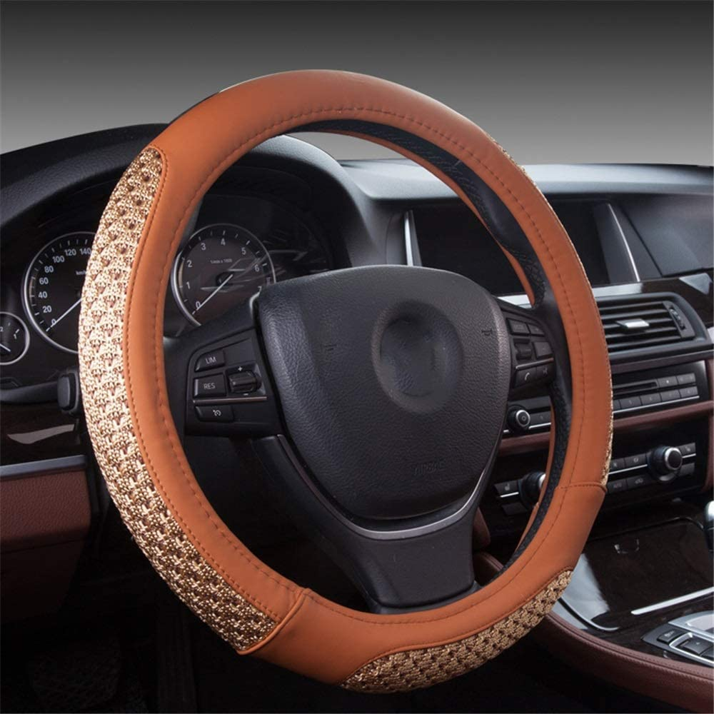 Universal steering wheel cover 2 Pieces Of Fashion-resistant Classic Car Steering Wheel Cover With Soft And Breathable Anti-skid Steering Wheel Cover For Car Trucks Suitable for decorating your car's