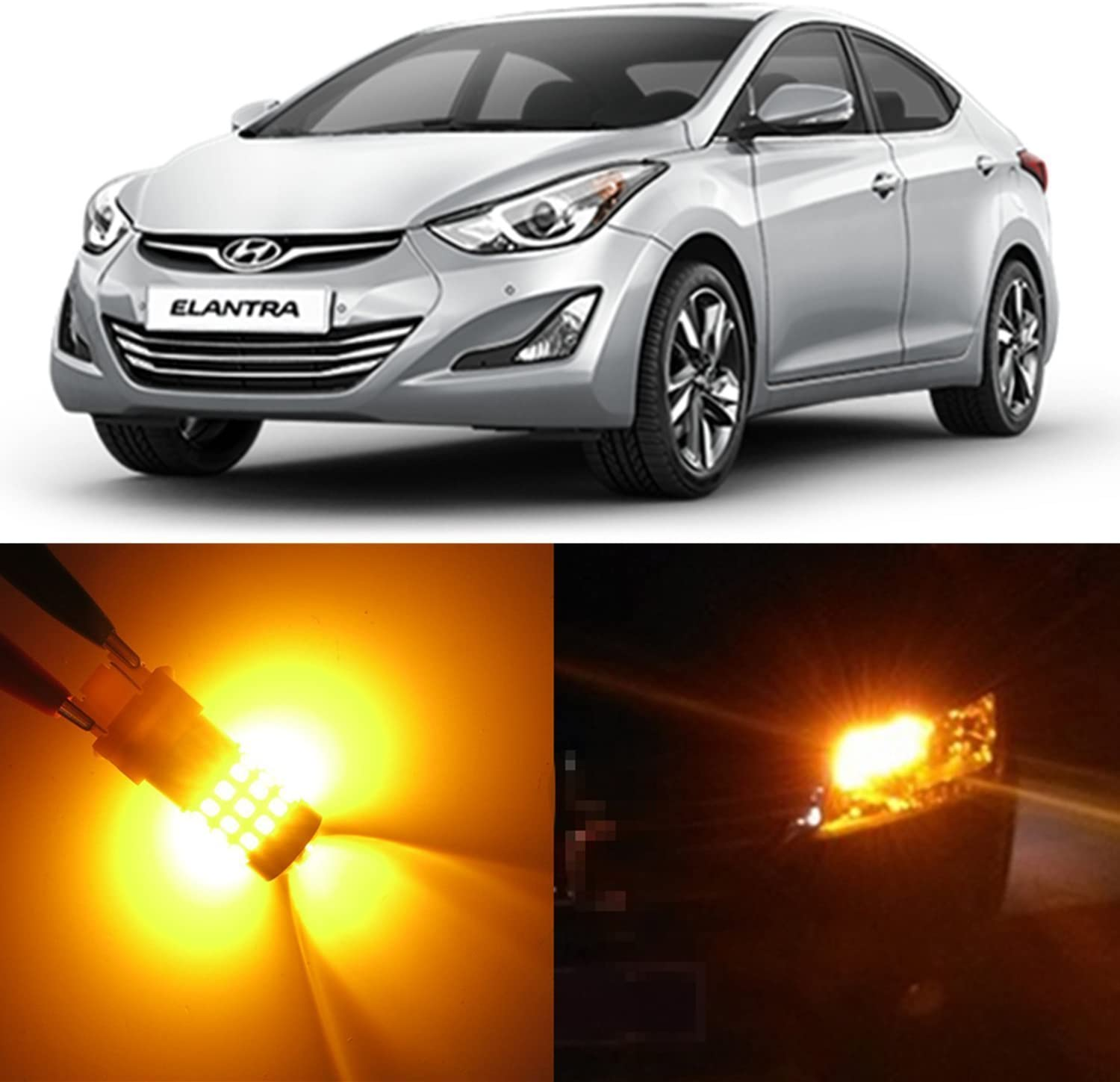 Alla Lighting 2x Super Bright Amber Yellow 1157 P28/8W 2357NA LED Bulbs for Front Turn Signal Blinker Light Lamps for 1992~2003 2007~2011 2012 2013 2014 2015 2016 2017 Hyundai Elantra/GT/Coupe