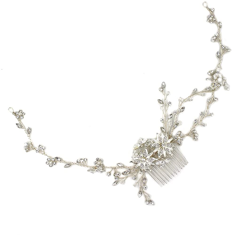 YAZILIND Wedding Bride Silver Plated Flower Rhinestone Hair Comb Women Party Headband