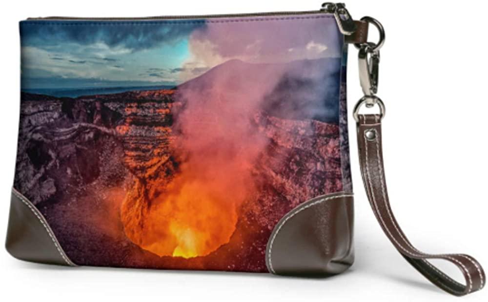 Soft Waterproof Women Leather Wristlet Magic Volcano Erupting Girls Clutch Bag With Zipper For Women Girls