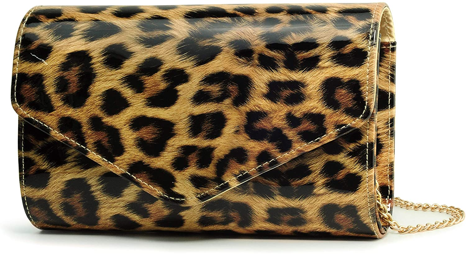 Leopard Evening Handbag Women Envelope Clutch Patent Leather Glossy Purse with Shoulder Chain Strap