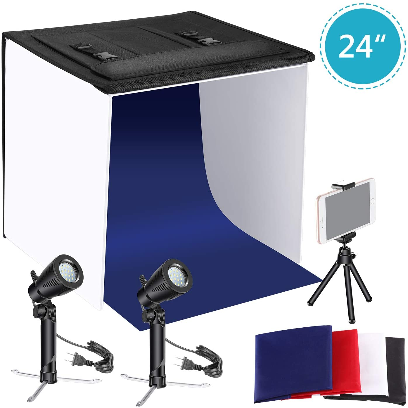 Neewer 24x24 inches Table Top Photography Studio Lighting Light Tent Kit with Foldable Shooting Box, Led Light, Mini Tripod, Phone Holder, 4 Color Backdrops for Product Shooting Advertising