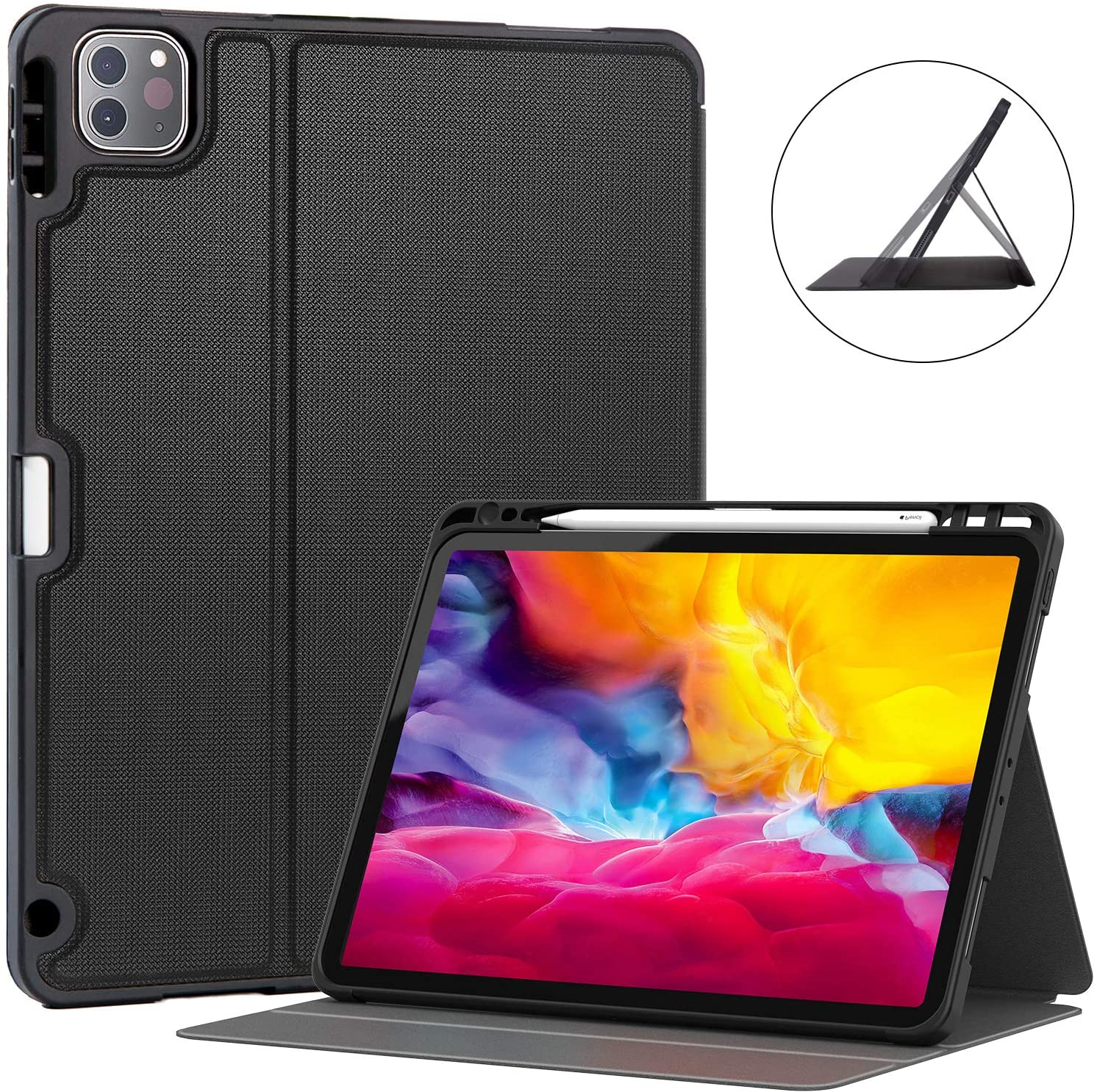 Soke iPad Pro 11 Case 2020 with Pencil Holder,New iPad case 11 inch Lightweight Smart Cover with Soft TPU Back +【Apple Pencil Charging】+Auto Sleep/Wake for iPad pro 2018/2020 (Black)