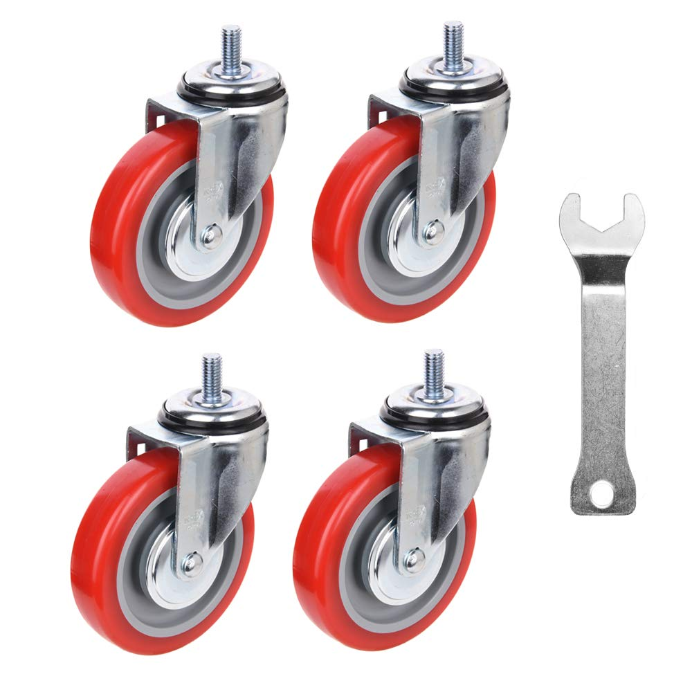 [T-REX CASTER] Easy Install, 4inch Heavy Duty Casters, All Swivel 1/2-13UNC1 Stem Caster with Polyurethane Wheel. Load Capacity - 900 Lbs Per Caster (Pack of 4) Unversal Fit. T505S-2(RED) LN