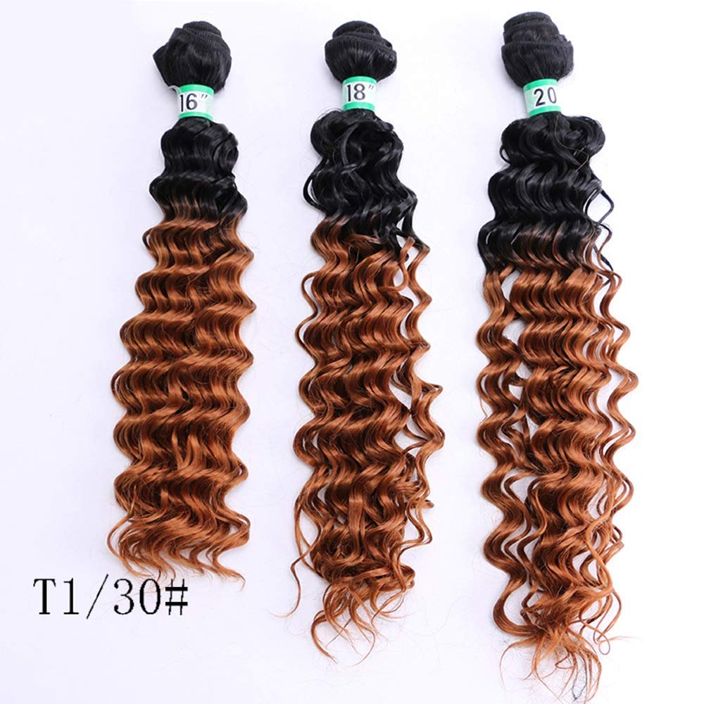 Durable Fashian Deep Curly Wave 3 Bundles Brazilian Hair Extensions Smooth And Thick Hair 70g/pcs 16 18 20 Inches - T1/30# Yellow-brown Gradient comfortable (Color : Gradient, Size : 18-18-18)