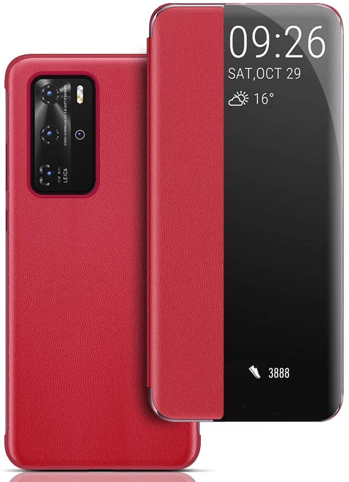 Case for P40 Pro, Smart View Window P40 Pro Flip Case Auto Wake/Sleep Protective Cover for P40 Pro - Red