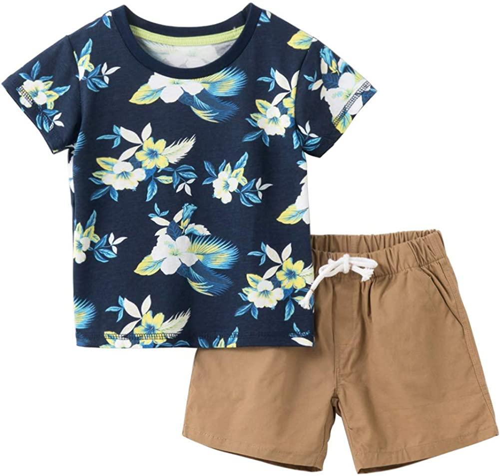 KISBINI Boys' America Summer Clothes Set Tee and Shorts Pants Set