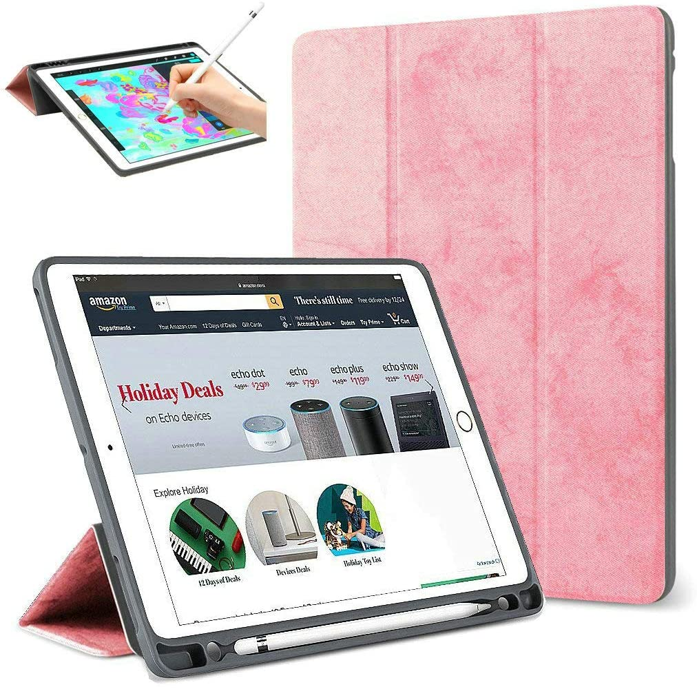 iPad Pro 12.9 inch 2017 2015 Case with Pencil Holder,Light Smart Case Soft TPU Back Cover Trifold Stand with Auto Sleep/Wake Protective Case for Apple iPad Pro 12.9 1st Gen&2nd Gen (Pink)