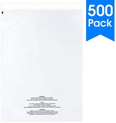 "Spartan Industrial || 500 Count - 14"" X 20"" Self Seal Clear Poly Bags with Suffocation Warning for Packaging, Clothes & FBA (More Sizes Available) - Permanent Adhesive"