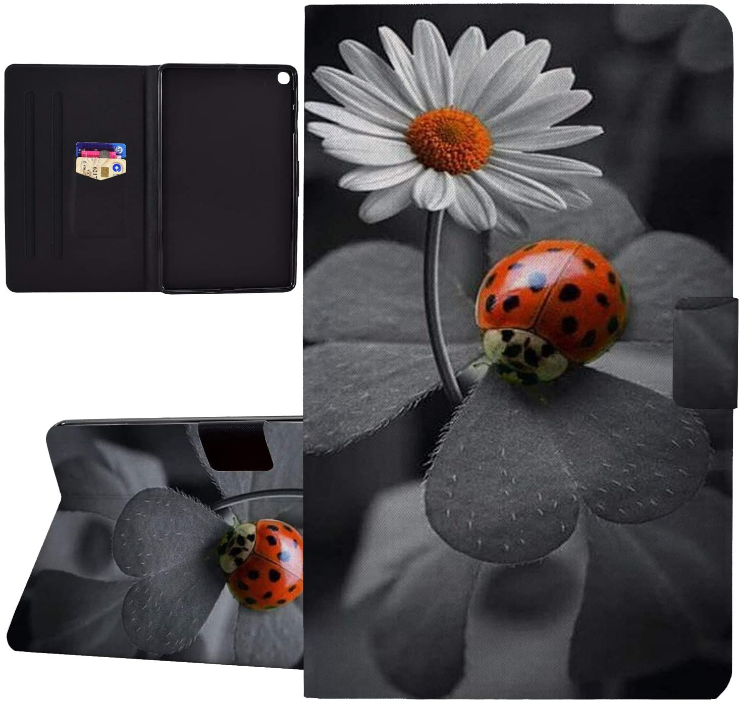Galaxy Tab A 10.1 2019 Case,Wkooff PU Leather Wallet with Auto Sleep/Wake Magnetic Slim Fit Folio Stand Shock Absorption Cover for Samsung Galaxy Tab A 10.1(SM-T510/T515/T517),Ladybug Daisy Flower